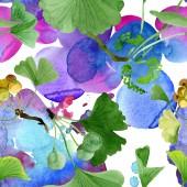Bella verde ginkgo biloba con le foglie isolate su bianco. Illustrazione dellacquerello della priorità bassa. Reticolo senza giunte della priorità bassa. Stampa tessuto per tappezzeria