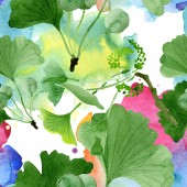 Beautiful green ginkgo biloba with leaves isolated on white. Watercolor background illustration. Seamless background pattern. Fabric wallpaper print texture.
