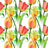 Fotografia Bei tulipani gialli con foglie verdi isolato su bianco. Illustrazione dellacquerello della priorità bassa. Reticolo senza giunte della priorità bassa. Stampa tessuto per tappezzeria
