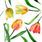 Fotografie Beautiful yellow tulips with green leaves isolated on white. Watercolor background illustration. Seamless background pattern. Fabric wallpaper print texture.