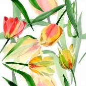 Sárga tulipánok elszigetelt fehér, zöld levelekkel. Akvarell háttér illusztráció. Varratmentes háttérben minta. Anyagot a nyomtatási textúrát.