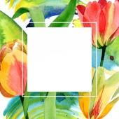 Sárga tulipánok elszigetelt fehér, zöld levelekkel. Akvarell háttér illusztráció. Akvarell rajz divat aquarelle. Test határ dísz