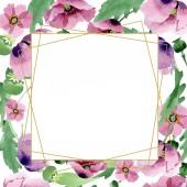 Krásné vínové makové květy izolované na bílém. Ilustrace akvarel zázemí. Akvarel, kresba módní aquarelle samostatný mák. Frame hranice ornament