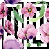 Fotografia Bei fiori del papavero Borgogna. Illustrazione dellacquerello della priorità bassa. Reticolo senza giunte della priorità bassa. Stampa tessuto per tappezzeria
