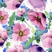 Fotografie Beautiful burgundy poppy flowers. Watercolor background illustration. Seamless background pattern. Fabric wallpaper print texture.