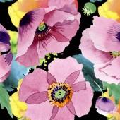Krásné vínové květy máku. Ilustrace akvarel zázemí. Vzor bezešvé pozadí. Fabric tapety tisku textura.