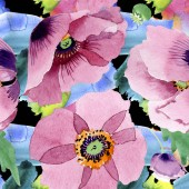 Beautiful burgundy poppy flowers. Watercolor background illustration. Seamless background pattern. Fabric wallpaper print texture.