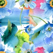 Fotografie Beautiful blue poppy flowers with green leaves isolated on white. Watercolor background illustration. Watercolour aquarelle. Seamless background pattern. Fabric wallpaper print texture.