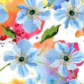 Krásné modré makové květy se zelenými listy izolované na bílém. Ilustrace akvarel zázemí. Aquarelle akvarel. Vzor bezešvé pozadí. Fabric tapety tisku textura.