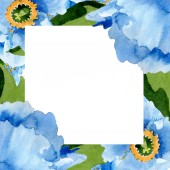 Bei papaveri blu con foglie verdi isolato su bianco. Illustrazione dellacquerello della priorità bassa. Aquarelle di moda disegno acquerello. Priorità bassa di ornamento del bordo cornice