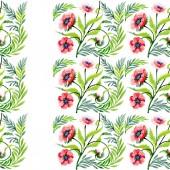 Ornamento con bei papaveri rossi e foglie. Illustrazione dellacquerello della priorità bassa. Reticolo senza giunte della priorità bassa. Stampa tessuto per tappezzeria