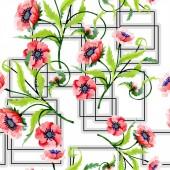 Fotografie Ornament s krásný červený mák a listí. Ilustrace akvarel zázemí. Vzor bezešvé pozadí. Fabric tapety tisku textura
