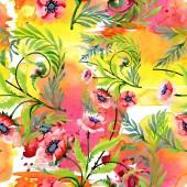 Ornament mit schönen roten Mohnblumen und Blättern. Aquarell Hintergrund Illustration. Nahtlose Hintergrundmuster. Stoff Tapete drucken