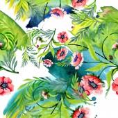 Fotografia Ornamento con bei papaveri rossi e foglie. Illustrazione dellacquerello della priorità bassa. Reticolo senza giunte della priorità bassa. Stampa tessuto per tappezzeria
