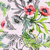 Fényképek Dísz, gyönyörű piros Pipacsok és levelek. Akvarell háttér illusztráció. Varratmentes háttérben minta. Anyagot a nyomtatási textúrát