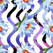 Fotografia Fiori di loto blu. Illustrazione dellacquerello della priorità bassa. Aquarelle acquerello. Reticolo senza giunte della priorità bassa. Stampa tessuto per tappezzeria