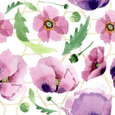 Beautiful burgundy poppy flowers. Watercolor background illustration. Seamless background pattern. Fabric wallpaper print texture. stock vector