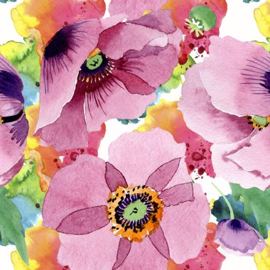 Beautiful burgundy poppy flowers. Watercolor background illustration. Seamless background pattern. Fabric wallpaper print texture.