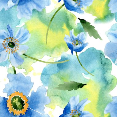 Beautiful blue poppy flowers with green leaves isolated on white. Watercolor background illustration. Watercolour aquarelle. Seamless background pattern. Fabric wallpaper print texture. stock vector