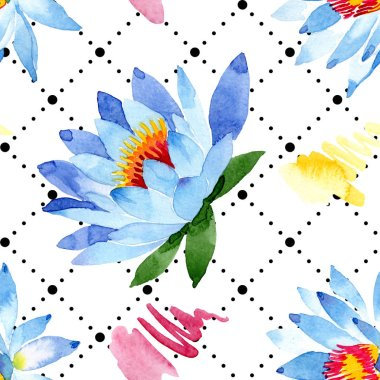 Blue lotus flowers. Watercolor background illustration. Watercolour aquarelle. Seamless background pattern. Fabric wallpaper print texture. stock vector