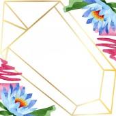 Fotografie Krásný modrý Lotos květiny izolované na bílém. Ilustrace akvarel zázemí. Aquarelle akvarel. Rámeček ornament hranice. Crystal diamond šperky hornin
