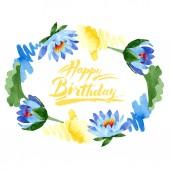 Gyönyörű kék lótuszvirág elszigetelt fehér. Akvarell háttér illusztráció. Akvarell rajz divat aquarelle. Test határ dísz. Boldog születésnapot felirat