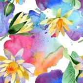 Gyönyörű sárga virágok elszigetelt fehér. Akvarell háttér illusztráció. Akvarell rajz divat aquarelle. Varratmentes háttérben minta