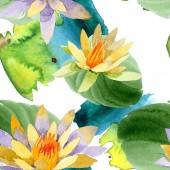 Fiori di loto giallo bello isolati su bianco. Illustrazione dellacquerello della priorità bassa. Aquarelle di moda disegno acquerello. Reticolo senza giunte della priorità bassa.