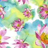 Fotografia Fiori di loto viola bella isolati su bianco. Illustrazione dellacquerello della priorità bassa. Aquarelle acquerello. Reticolo senza giunte della priorità bassa. Stampa tessuto per tappezzeria