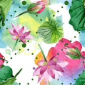 Fotografie Krásné fialové lotosové květy izolované na bílém. Ilustrace akvarel zázemí. Aquarelle akvarel. Vzor bezešvé pozadí. Fabric tapety tisku textura
