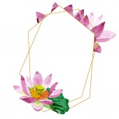 Krásné fialové lotosové květy izolované na bílém. Ilustrace akvarel zázemí. Akvarel výkresu módní aquarelle. Frame hranice ozdoba krystal.