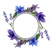Beautiful purple lavender flowers isolated on white. Watercolor background illustration. Watercolour drawing fashion aquarelle. Frame border ornament.