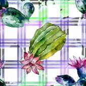 Cactus verdi. Illustrazione dellacquerello della priorità bassa. Aquarelle acquerello isolato. Reticolo senza giunte della priorità bassa. Stampa tessuto per tappezzeria.