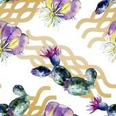 Fotografia Cactus verdi. Illustrazione dellacquerello della priorità bassa. Aquarelle acquerello isolato. Reticolo senza giunte della priorità bassa. Stampa tessuto per tappezzeria
