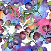 Olive nere sui rami con foglie verdi. Giardino Botanico floreale fogliame. Illustrazione dellacquerello della priorità bassa. Reticolo senza giunte della priorità bassa. Stampa tessuto per tappezzeria.