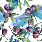 Černé olivy na větvích se zelenými listy. Botanická zahrada květinové listy. Ilustrace akvarel zázemí. Vzor bezešvé pozadí. Fabric tapety tisku textura