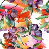 Fotografia Olive nere sui rami con foglie verdi. Giardino Botanico floreale fogliame. Illustrazione dellacquerello della priorità bassa. Reticolo senza giunte della priorità bassa. Stampa tessuto per tappezzeria