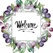Olives on branches with green leaves. Botanical garden floral foliage. Watercolor illustration on white background. Square frame. Welcome handwriting monogram calligraphy.