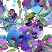 Fényképek Fekete olajbogyó, ágak, zöld levelekkel. Botanikus kert virágos lombozat. Akvarell háttér illusztráció. Varratmentes háttérben minta. Anyagot a nyomtatási textúrát