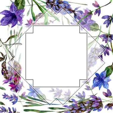 Beautiful purple lavender flowers isolated on white. Watercolor background illustration. Watercolour drawing fashion aquarelle. Frame border ornament. stock vector