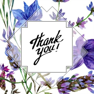 Beautiful purple lavender flowers isolated on white. Watercolor background illustration. Watercolour drawing fashion aquarelle. Frame border ornament. Thank you inscription stock vector