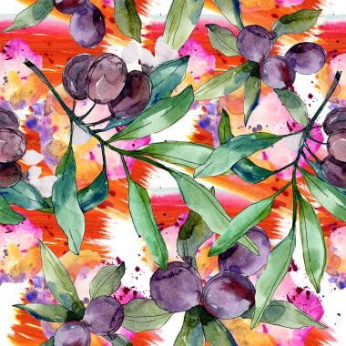 Black olives on branches with green leaves. Botanical garden floral foliage. Watercolor background illustration. Seamless background pattern. Fabric wallpaper print texture. stock vector