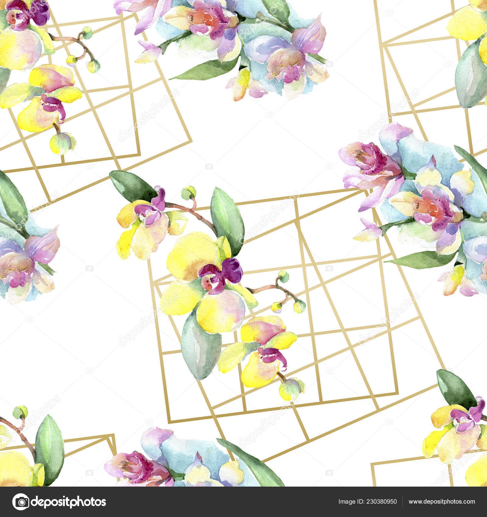 緑の葉を持つ美しい蘭の花 水彩画背景イラスト シームレスな背景