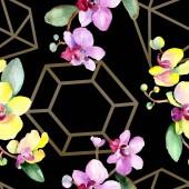 Fényképek Gyönyörű orchidea virágok, zöld levelekkel. Akvarell háttér illusztráció. Varratmentes háttérben minta. Anyagot a nyomtatási textúrát