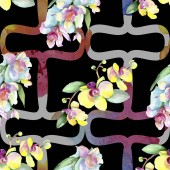 Fotografie Beautiful orchid flowers with green leaves. Watercolor background illustration. Seamless background pattern. Fabric wallpaper print texture.