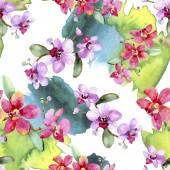 Gyönyörű orchidea virágok, zöld levelekkel. Akvarell háttér illusztráció. Varratmentes háttérben minta. Anyagot a nyomtatási textúrát.