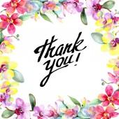 Fotografie Nádherné květy orchidejí se zelenými listy izolované na bílém. Ilustrace akvarel zázemí. Akvarel výkresu módní aquarelle. Rámeček ornament hranice. Děkuji nápis