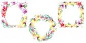Nádherné květy orchidejí se zelenými listy izolované na bílém. Sada akvarel pozadí obrázku. Akvarel výkresu módní aquarelle. Rámce sousedí s ornamenty
