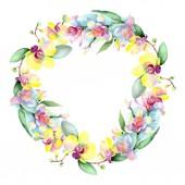 schöne Orchideenblüten mit grünen Blättern isoliert auf weiß. Aquarell-Hintergrundillustration. Aquarell zeichnen Mode-Aquarell. Rahmen Bordüre Ornament.