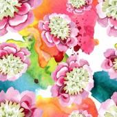 Fotografie schöne rosa Pfingstrosenblüten mit grünen Blättern auf weißem Hintergrund. Aquarell Zeichnung Aquarell. nahtlose Hintergrundmuster. Stoff Tapete drucken Textur.